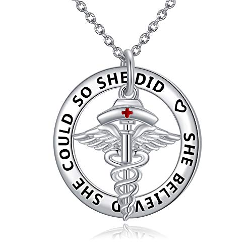 Registered Nurse RN Caduceus Anhänger Halskette, Angel Wing Anhänger Graviert