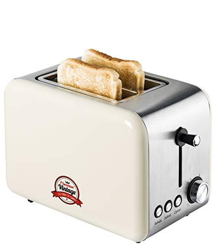 Bestron Toaster mit 2 Röstkammern, Krümelschublade und Röstaufsatz, Vintage, 1000 Watt, Beige