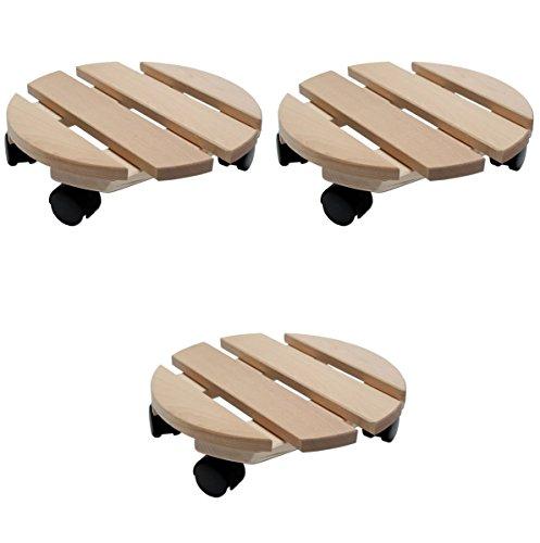 Pflanzenroller Holz MASSIV rund 30 cm bis 120 KG (3)