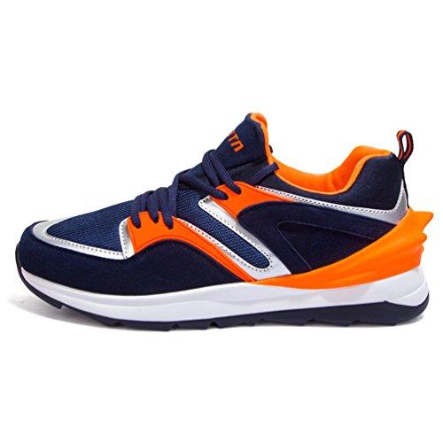 Homme Chaussure de Sport Voyage Sneakers compensé Chaussure de Running Jogging Course athlétique Fitness Trial Gym imperméable Respirant Classique Bleu foncé 40