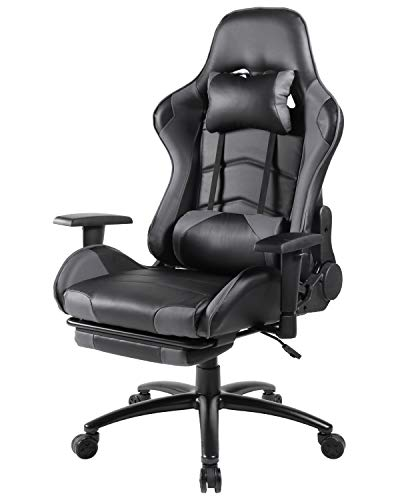 Office Chair, Ergonomic Gaming Chair Computer Desk Chair Reclining Video Game Chair High Back PU Leather Executive Swivel Chair with Retractable Footrest and Lumbar Support