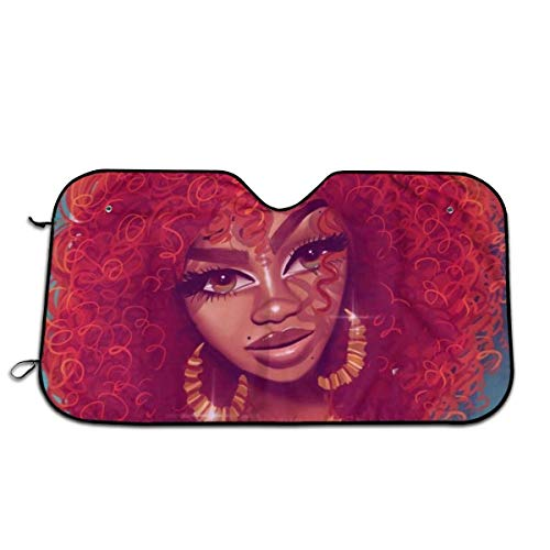 Red Afro Girl Teal Themed Pattern Print Interior Windshield Sun Shade Cover Car Windows Decor Outdoor Sunshade Vehicle Accessories Auto Ornament Visor Kit for Women Men