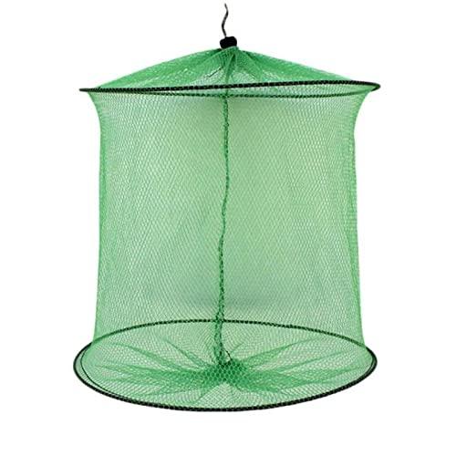 2 ~ 4 círculo plegable jaula de pesca, marco de metal redondo, trampa de cebo de red de nylon, aparejos de pesca
