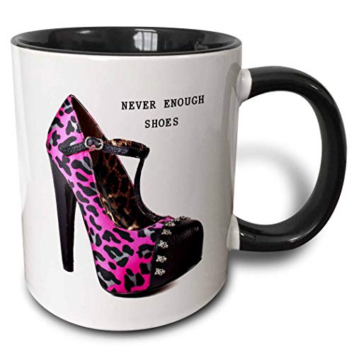 Novelty Ceramic Mug 11 oz Funny Coffee Mug Unique Gift Message With Cool Pink N Black Cheetah High Heel Two Tone Black Mug Multicolor Coffee Cup wiht Colored Rim and Handle for Men Women