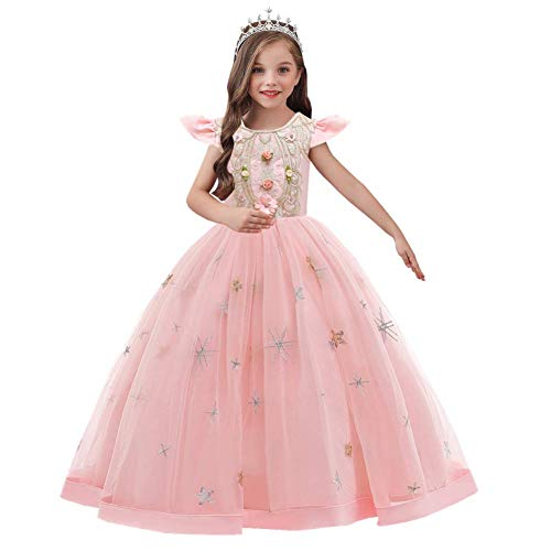 IWEMEK Flower Girls Ruffle Fly Sleeve Floral Lace Tulle Maxi Dress Wedding Bridesmaid First Communion Birthday Pageant Party Evening Prom Dance Dress Carnival Christmas Ball Gown Pink 7-8 Years
