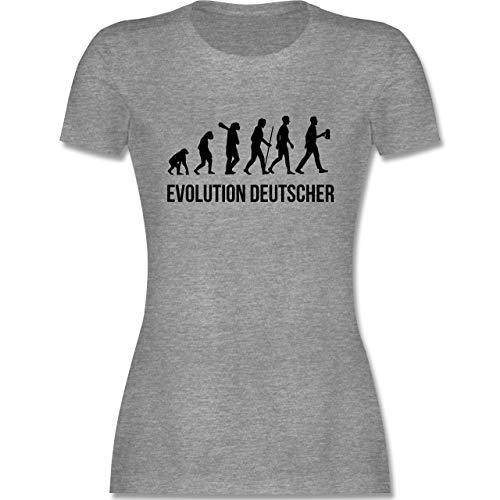 Evolution - Evolution Deutscher - XXL - Grau meliert - deutsch t Shirt - L191 - Tailliertes Tshirt für Damen und Frauen T-Shirt