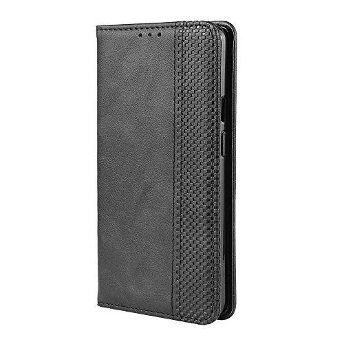 LAGUI Kompatible für Motorola One Macro Hülle, Leder Flip Hülle Schutzhülle für Handy mit Kartenfach Stand & Magnet Funktion als Brieftasche, schwarz