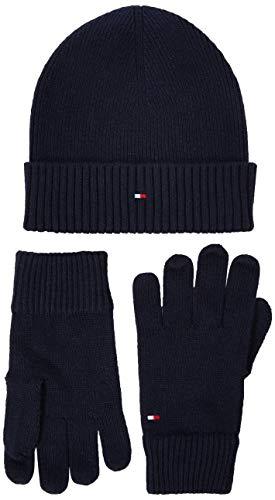 Tommy Hilfiger Flag Knit Mütze & Handschuh GP Ensemble Bonnet, Et Gant, Blau (Blue Cjm), One Size (Herstellergröße:OS)