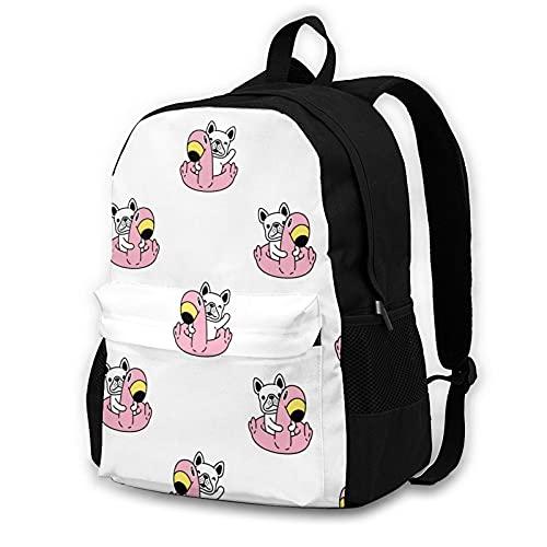 16.5 Lightweight Durable School Bags Bookbag Backpacks For Kids Teen,French Bulldog Flamingo Swimming Ring College School Book Shoulder Bag Travel Daypack For Boys Girls Man Woman