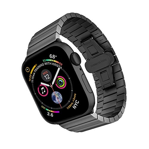 ARTCHE Watch Strap for Apple Watch 44mm 42mm Stainless Steel Replacement Band Bracelet Straight Adjustable Wristband Belt, Compatible with iwatch Series 6 SE 5 4 3 2 1, Black