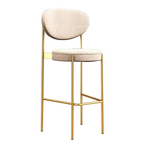 JIEER-C vrijetijdsstoelen, barkruk, hoge stoel, eetkamerstoel, bekleed, keuken, leuning kruk, voeten van metaal, rugleuning stoel, duurzaam, robuust 103cm T7