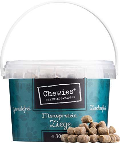 Chewies Trainingshappen Ziege - Monoprotein Snack für Hunde - 300 g - getreidefrei & zuckerfrei - Softe Leckerlies fürs Hundetraining - hypoallergen
