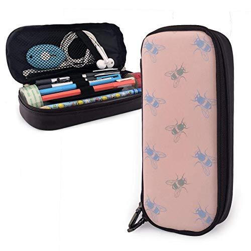 Estuche para lápices de cuero PU con patrón de mosca doméstica azul rosa, organizadores de papelería duraderos para estudiantes con doble cremallera elástica 1.5in X 3.5 X 8 in