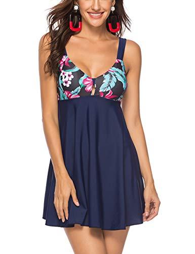 FeelinGirl Mujer Traje de Baño Falda Elegante Estampado Conjuntos de 2 Piezas Tankinis Sexy Talla Grande Bañador con Braga Azul 5XL:Talla-52