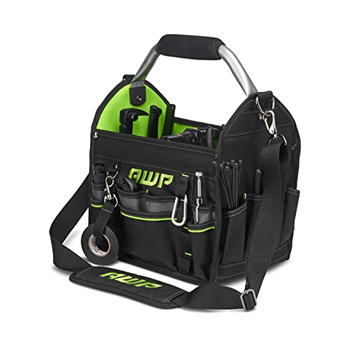 """AWP 12"""" Pro Tool Tote   Water Resistant Tool Bag with Rotating Handle, Removable Shoulder Strap and 21 Tool Storage Pockets, Black/Green"""