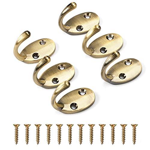 AWTOK - Ganchos de pared para colgar con tornillos (6 ganchos de pared y 12 tornillos) (bronce)