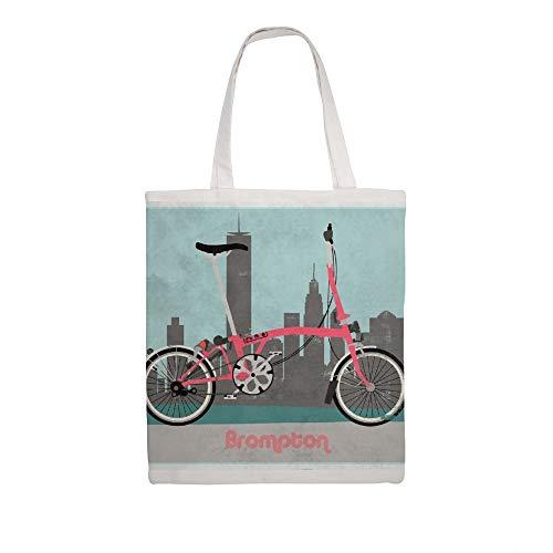 Einkaufstasche aus Baumwollleinen, Brompton City Bike Schulter Einkaufstasche Stoff Einkaufstasche