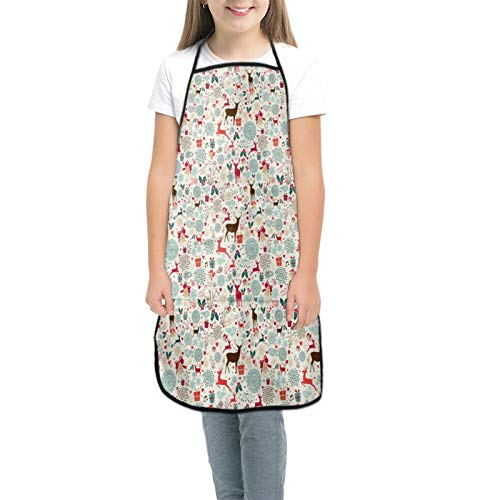 Christmas Reindeer Children's Apron with Pockets, Adjustable Neck Strap For Cooking Panting Baking