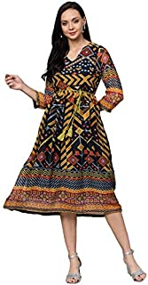 pluss Women's Blue Printed A line Dress (LDR7544-ILLUSIONPRT)