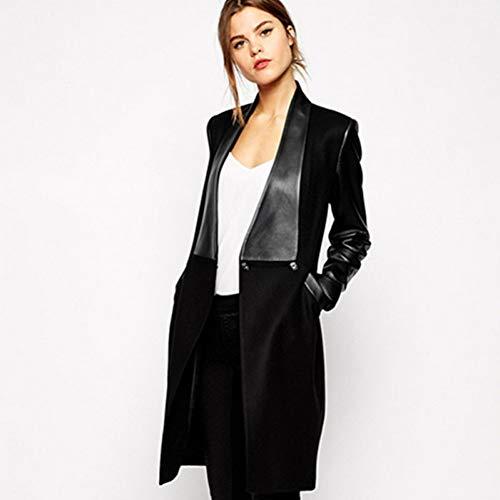 SMZAST Wollmantel Damen Winter Leder Spleißjacke Mittellange Mode Damen Schwarz Casual Top Lederjacken-XL