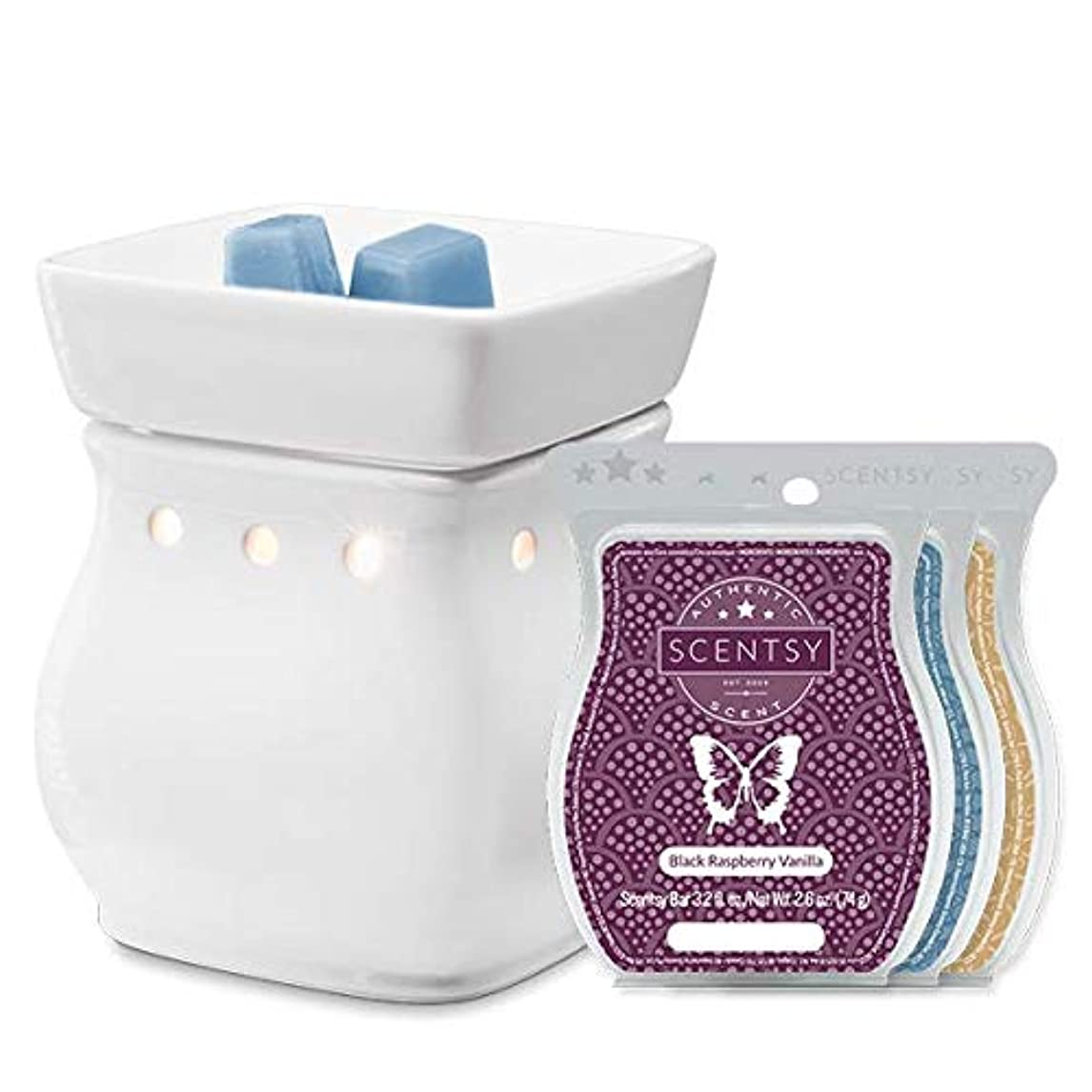 Scentsy Classic Curve-Gloss White Warmer with Luna, Black Raspberry Vanilla and Vanilla Bean Buttercream Wax qhab3696066026