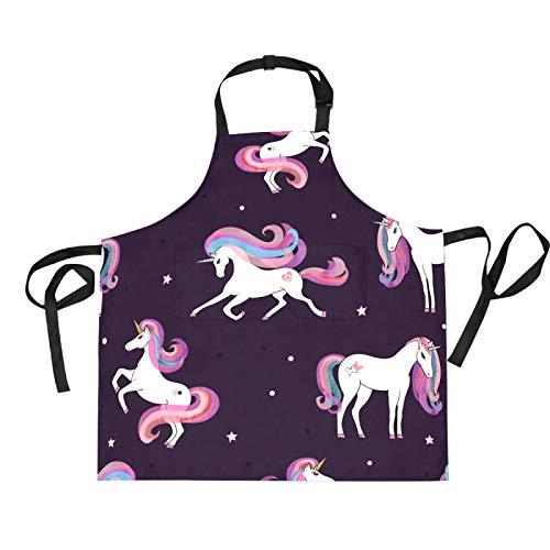Mnsruu Hermoso delantal de cocina con diseño de estrella de unicornio de 27,5 x 29 pulgadas con 2 bolsillos frontales para mujeres y hombres y chefs.