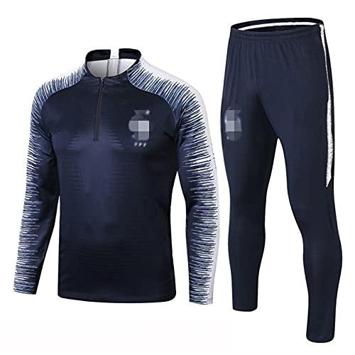 Traje de entrenamiento para hombre adulto club de fútbol Jersey manga larga ropa deportiva unisex chándal uniforme, azul, M