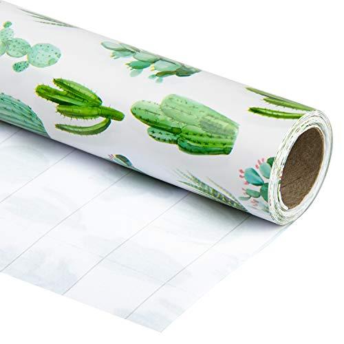 RUSPEPA Rollo De Papel De Envoltura De Regalo - Impresión De Cactus De Acuarela Para Bodas, Cumpleaños, Vacaciones, Envoltura De Regalo De Baby Shower - 76CM X 10M