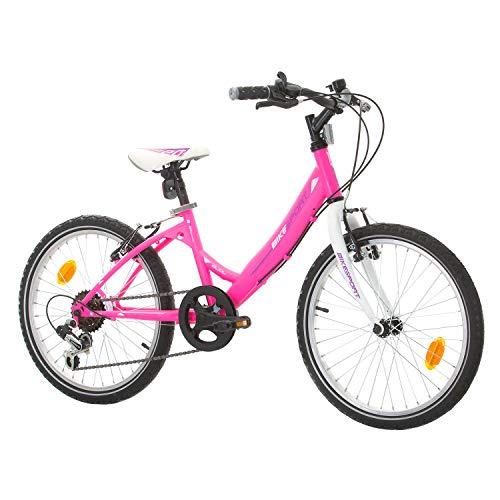 SPRINT Kinderfahrrad 20 Zoll Bikesport Bijou Mädchenfahrrad Shimano 6 Gang (Rosa Violett) 6,7 8, 9 Jahre
