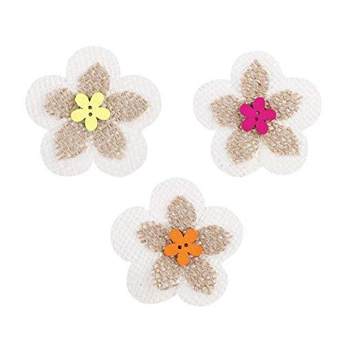 Sackleinen Blume, 20 Stücke Schöne Bunte Doppelschicht Blume Schnalle Handgemachtes Stricken Natürliche Jute Sackleinen Blume Handwerk Kreative Geschenke