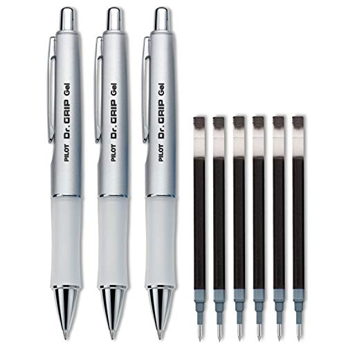 Pilot Dr. Grip Limited Retractable Rolling Ball Gel Pen, Fine Point, Platinum Metallic Barrel, Black Ink 3 Pen (36272) with 6 Black Ink Refill