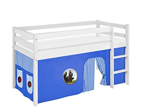 Lilokids Lit de jeu JELLE - 90 x 190 cm - Bleu dragons - Certifié TÜV & GS - Blanc - Lit mezzanine avec rideau et sommier à lattes