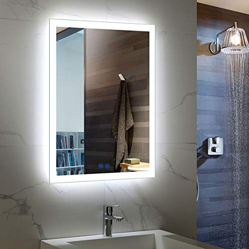 Rectangle Illuminated Bathroom Wall Mirror, White Mirror, Wall Mounted Lighted Vanity Silvered...