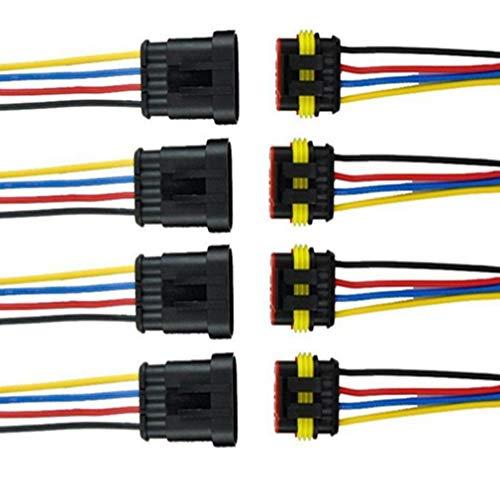 Qiorange 4 TLG 4 Poliger Kabel Steckverbinder Wasserdichter Stecker Nylon Schnellverbinder Superseal mit Draht für KFZ LKW Auto Boote Motorrad (4 Pin 4Pcs)