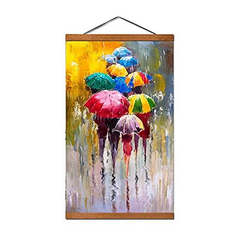 Chica sosteniendo un Paraguas Pinturas Lienzo Retrato Abstracto Carteles e Impresiones Imágenes artísticas de Pared Decoración del hogar 50x70cm con Marco
