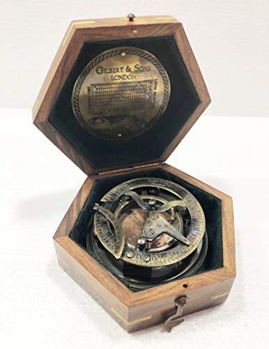 Gilbert & Sons London Brújula de navegación de latón con caja de madera, estilo antiguo náutico redondo