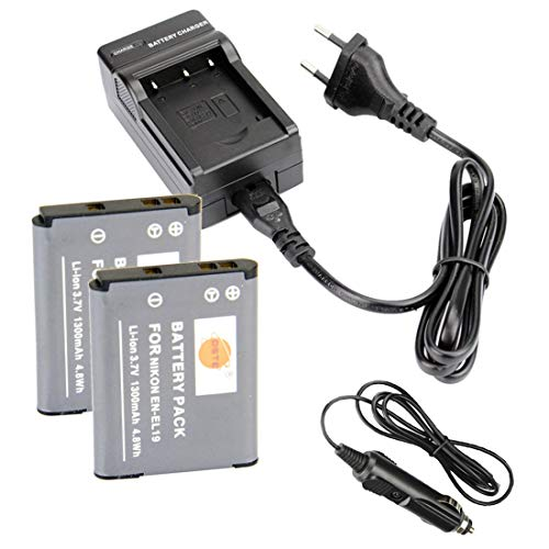 DSTE®(2 Pack)Ersatz Batterie und DC109E Reise Ladegerät Kompatibel für Nikon EN-EL19 Coolpix S100 S2500 S2600 S2700 S2750 S3100 S3200 S3300 S3400 S3500 S4150 S4200 S6500 S6600 S6900 as Sony NP-BJ1