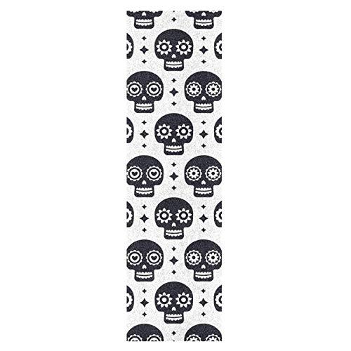 Lindo Cráneo Blanco Negro Monopatín Papel de Lija Antideslizante Hoja Cinta de Agarre Lijas para Patineta Scooter Etiquetas engomadas (84 x 23 cm)
