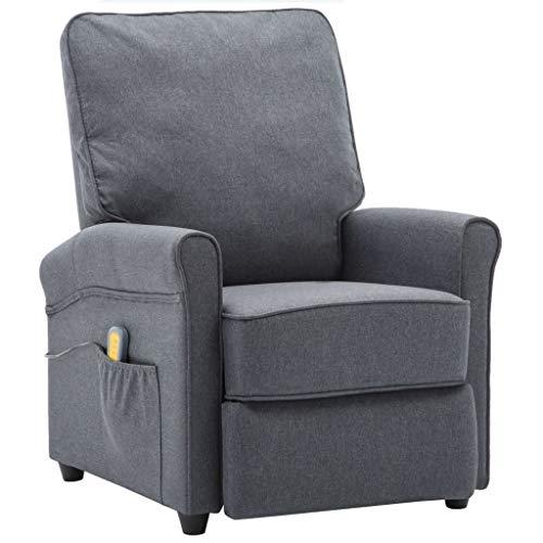 vidaXL Massagesessel Elektrisch mit Wärmefunktion Fernsehsessel Relaxsessel Liegesessel Ruhesessel TV Sessel Liegestuhl Dunkelgrau Stoff