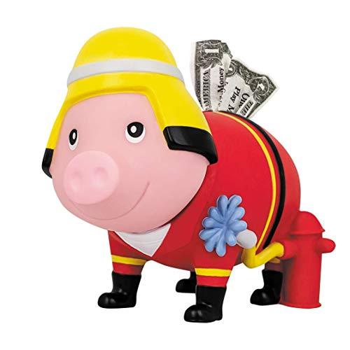 LILALU Spardose BIGGYS Feuerwehr, Sparschwein Kopf drehbar Sparbox Sparbüchse Münzeinwurf Piggy Bank Tresor Kinder