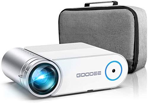 Proyector, Proyector de video GooDee 2021 G500 5500L, 1080P y 200 'Proyector de películas portátil compatible con 50,000 horas de vida útil de la lámpara, Proyector de cine en casa compatible con TV Stick, HDMI, Teléfono (YG420)