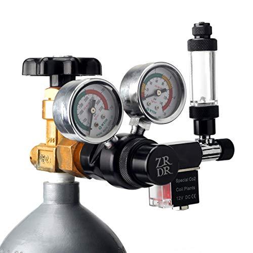 ZRDR CO2 Regulator Aquarium 12V DC CO2 Solenoid Pressure Regulator with Big Dual Gauge Display, Bubble Counter, Check Valve, and Installing Tool, Safe Voltage Stable Output CGA320 Side Open Cylinder