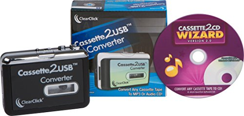 ClearClick Cassette Tape to USB Converter with Cassette2CD Wizard 2.0 Software (Free USA Tech Support)