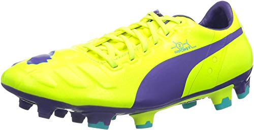 PUMA Herren EvoPower 2 FG Fußballschuhe, Orange (Fluro Yellow-Prism Violet-Scuba Blue 04), 39 EU