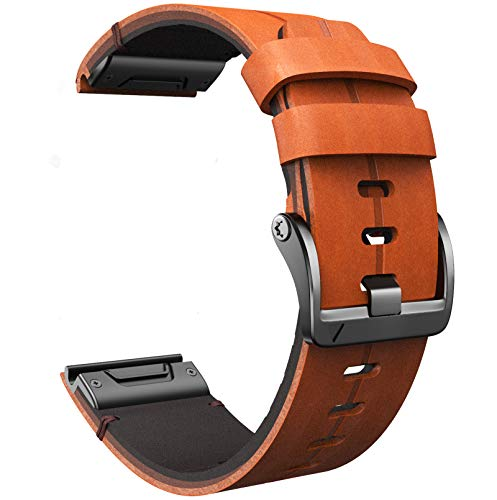 ANCOOL Compatible with Fenix 5X Band 26mm Easy-fit Genuine Leather Watch Band Replacement for Garmin Fenix 6X Pro/Fenix 5X Plus/Fenix 6X/Descent Mk2/D2 Delta PX Smartwatches (Brown)
