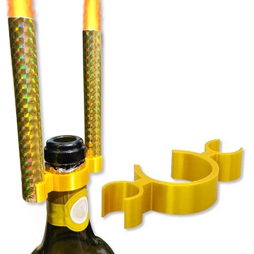 E&R - Soporte para 2 velas para fuente de hielo, accesorio de fiesta para botella de champán – Ilumina botellas de cumpleaños y fiestas, color dorado