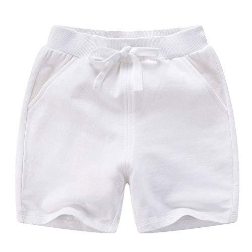 PTPuke Toddler Kids Solid Cotton Comfort Soft Sport Jogger Shorts Boys Girls Summer Casual Pants White
