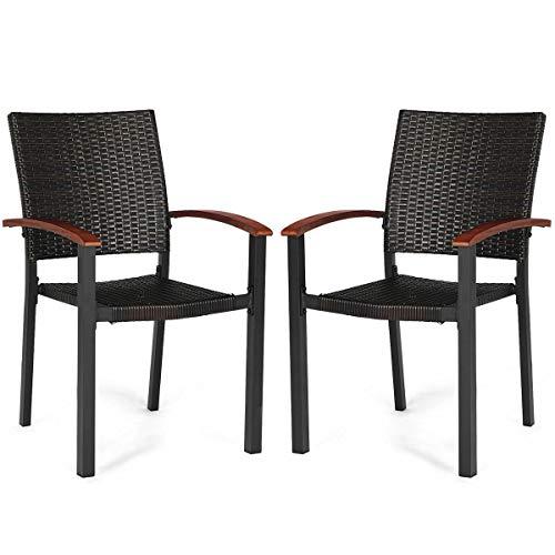 Heize best price Dark Brown 2PCS Patio Dining Chairs Armchair Stackable Rattan Wicker Outdoor Aluminum Frame Deck Garden Beach Recliner (U.S. Stock)