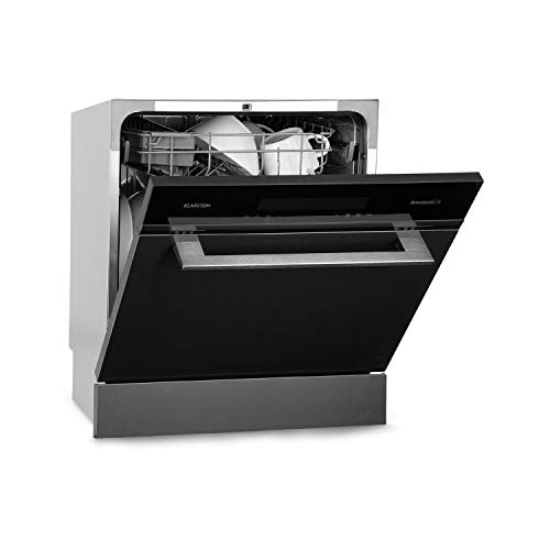 Klarstein Amazonia 8 - Teilintegrierte Spülmaschine, Eco Edition, Effizienzklasse: A+, 60 cm breit, 8 Maßgedecke, Heißlufttrocknung, programmierbar, Schnell-/ ECO-Programm, Edelstahl, schwarz