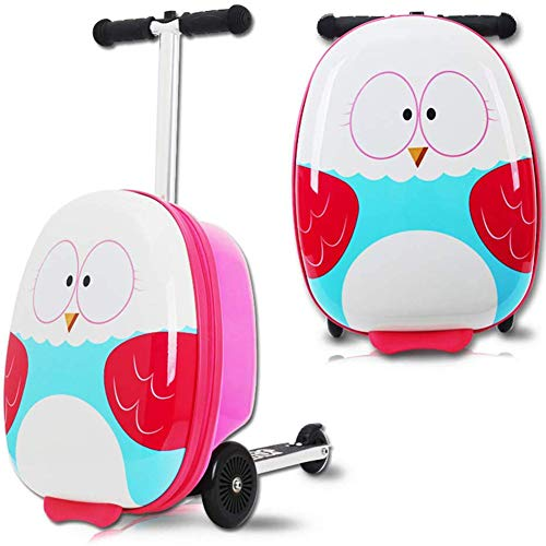 LRZ 18' Kids Luggage Scooter Boys Ride-on Mini Scootcase Suitcase With Collapsible Cute Cartoon Children's Baby Scooter Trolley Case Slide Car Stand,C